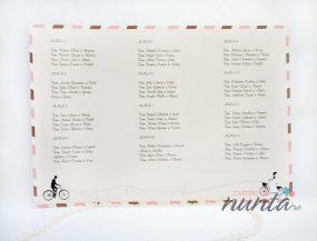 Lista cu asezarea invitatilor la mese roz Love Bicycles