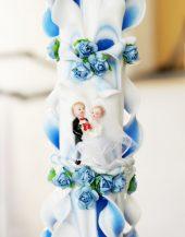 Lumanare albastru nunta 80 cm sculptata la capatul superior