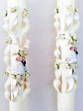 Lumanare crem nunta 100 cm sculptata la capatul superior
