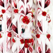 Lumanare grena nunta 120 cm sculptata la capatul superior