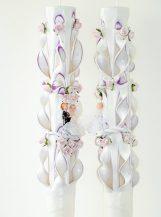 Lumanare lila nunta 100 cm sculptata la capatul superior