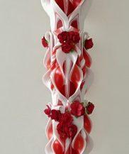 Lumanare nunta rosie 120 cm sculptata la ambele capete