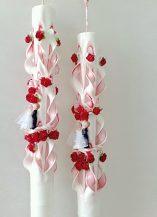 Lumanare nunta rosie 60 cm sculptata la capatul superior