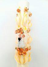 Lumanare portocalie nunta 120 cm sculptata la capatul superior