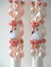 Lumanare roz nunta 60 cm sculptata la capatul superior