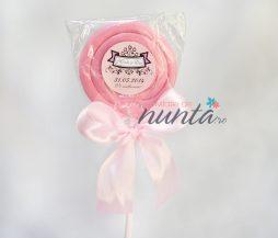 Marturie de nunta acadea colorata cu funda roz si eticheta eleganta