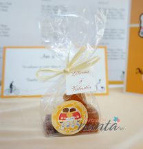 Marturie de nunta punguta pates de fruits Orange Retro Love