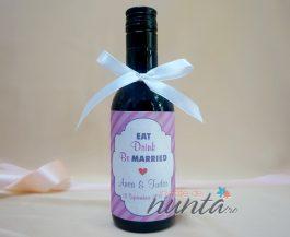 Marturie sticla de vin retro roz 187 ml