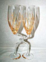 Pahare impreunate personalizate cu model geometric auriu