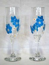 Pahare sampanie personalizate cu flori albastre