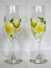 Pahare sampanie personalizate cu flori galbene