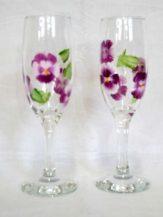 Pahare sampanie personalizate cu flori mov