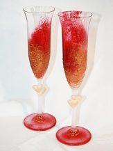 Pahare sampanie personalizate rosii cu auriu