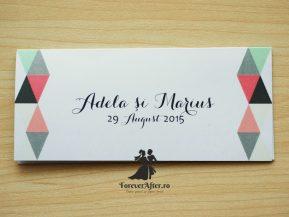 Place card cu triunghiuri colorate