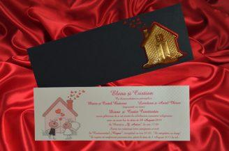 Invitatie de nunta gri perlat cu albinute si casuta cu inimioare