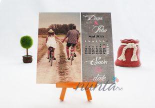 Save the date cu calendar si poza mirilor