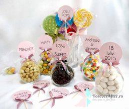 Set 10 etichete candy bar roz cu fundita si perla