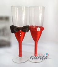 Set pahare miri cu papion si trandafiri Satin Rouge