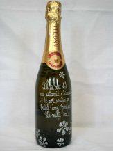 Sticla de sampanie personalizata cu floricele argintii