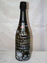 Sticla de sampanie personalizata cu fluturasi argintii