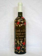 Sticla de vin personalizata aurie cu inimioare rosii