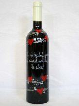 Sticla de vin personalizata cu argintiu si inimi rosii