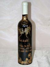 Sticla de vin personalizata cu cercuri aurii