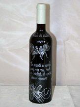 Sticla de vin personalizata cu flori argintii