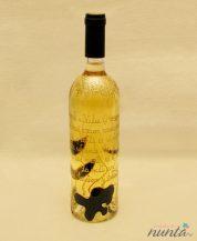 Sticla de vin personalizata cu flori negre