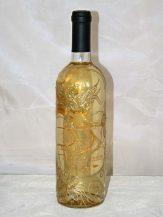 Sticla de vin personalizata cu flori stilizate aurii