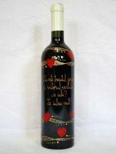 Sticla de vin personalizata cu inimi rosii