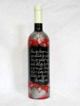 Sticla de vin personalizata cu model abstract rosu