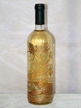 Sticla de vin personalizata cu modele abstracte aurii