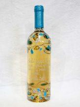 Sticla de vin personalizata cu modele albastre cu argintiu