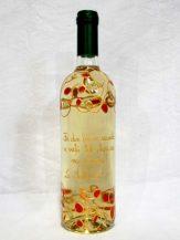 Sticla de vin personalizata cu modele aurii cu rosu