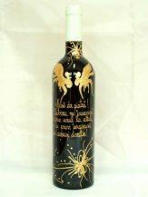 Sticla de vin personalizata cu motiv floral abstract
