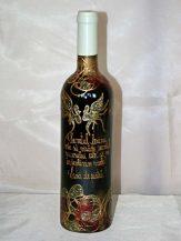Sticla de vin personalizata cu motive abstracte aurii