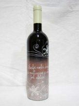 Sticla de vin personalizata flori albe