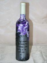 Sticla de vin personalizata gri cu mov