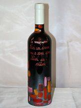 Sticla de vin personalizata neagra cu motive colorate