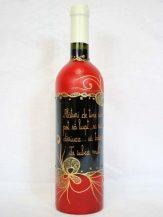 Sticla de vin personalizata rosie cu flori aurii
