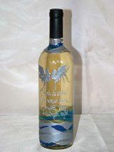 Sticla de vin personalizata valuri argintii
