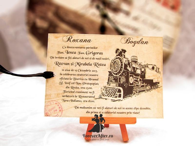 Invitatie Bilet Old Train Invitatii De Nunta Moderne