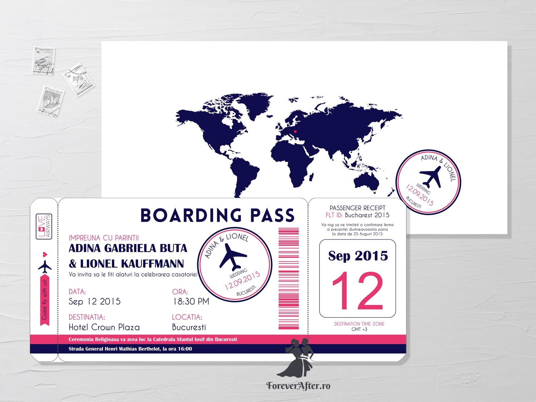 Invitatie De Nunta Boarding Pass Invitatii De Nunta Moderne