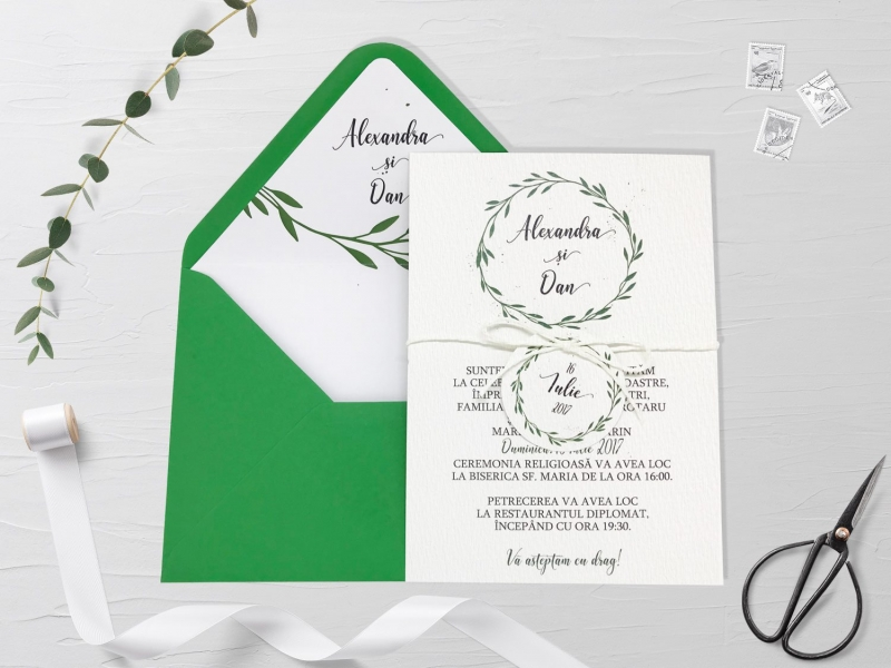 Invitatie De Nunta Green Branches Invitatii De Nunta Romantice