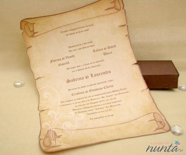 Invitatie Pergament Medieval Invitatii De Nunta Pergament