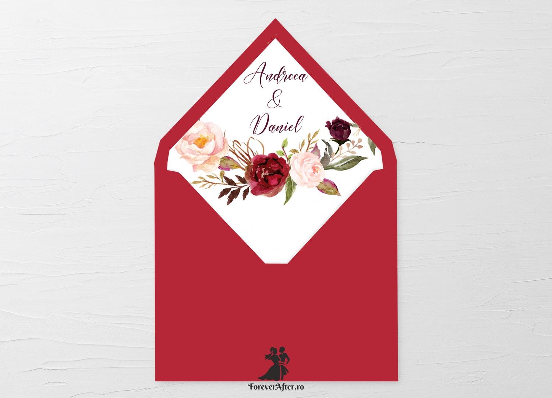 Liner Patrat Pentru Plic Invitatii De Nunta Cu Coronita De Flori
